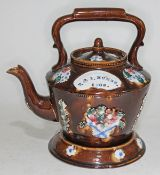 Edwardian sprigged bargeware teapot and stand with named plaque T & I Humes 1908
