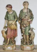 A pair of large Royal Dux Bohemia figures, Shepherd and Shepherdess, model numbers 1060 & 1061,