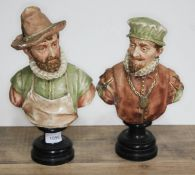 A pair of 19th century Goldscheider busts of men in Elizabethan dress on stands, model numbers 316 &