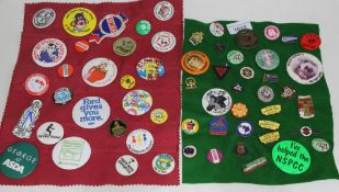 Approx 60 vintage enamel and tin plate pin and lapel badges.