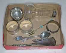 A mixed lot including a Marius Hammer silver enamel pickle fork and other hallmarked silver items