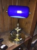 A blue galss and brass desk lamp - Operation Chastise commemorative design The-saleroom.com