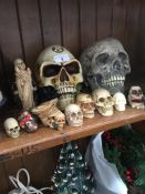 A collection of plastic and composite skulls The-saleroom.com showing catalogue only, live bidding
