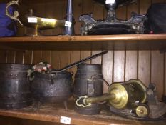 Quantity of antique and vintage items to include 2 barrels, a cauldron, Salter spring balance,