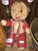 A vintage teddy bear Catalogue only, live bidding available via our website, if you require P&P
