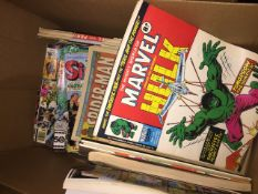 A large box of comics, Spiderman, Hulk, Marvel and some annuals. Catalogue only, live bidding