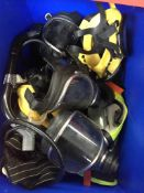 A box of misc diving masks and other equipment. Catalogue only, live bidding available via our