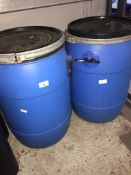 2 empty blue barrels Catalogue only, live bidding available via our website, if you require P&P