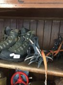 A pair of Scarpa boots and pair of Petzl Charlet crampons Catalogue only, live bidding available via