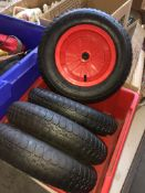 A box containing 4 heavy duty wheels. Catalogue only, live bidding available via our website, if you