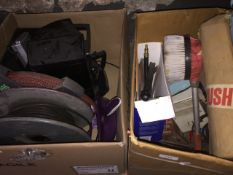2 boxes of misc to include cable reel, hose reel, power brush attachment, lawn mower grass box, etc.