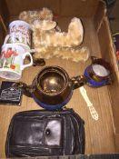 A mixed lot including a teddy bear, copper lustre ware, alarm clock, bone paper knife etc. Catalogue