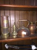 Collection of brass and copperware to include lamp. Please note, lots 1-1000 are not available for