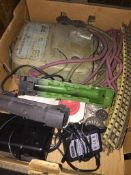 A box of Hornby Dublo model railway track, power unit, etc Please note, lots 1-1000 are not