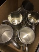 A quantity of plated tankards Please note, lots 1-1000 are not available for live bidding on the-