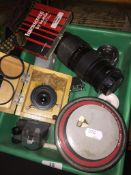 3 developing photo trays containing photographic items to include Mamiya Sekor zoom lense. Please
