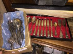 A Viners silver plated boxed cutlery set and box of silver plate. Please note, lots 1-1000 are not