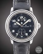 A GENTLEMAN'S STAINLESS STEEL BLANCPAIN LEMAN DAY & NIGHT DUAL TIME ZONE WRIST WATCH CIRCA 2001,