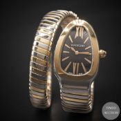 A LADIES STEEL & GOLD BULGARI SERPENTI TUBOGAS SINGLE SPIRAL BRACELET WATCH CIRCA 2016, REF. SP 35