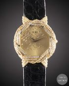 A LARGE SIZE 18K SOLID GOLD & DIAMOND ETOILE WRIST WATCH CIRCA 1990s Movement:Quartz. Case: