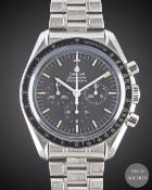 A GENTLEMAN'S STAINLESS STEEL OMEGA SPEEDMASTER PROFESSIONAL CHRONOGRAPH BRACELET WATCH DATED