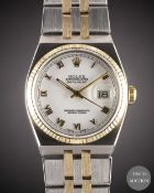 A GENTLEMAN'S STEEL & GOLD ROLEX OYSTERQUARTZ DATEJUST BRACELET WATCH CIRCA 1979, REF. 17013 WITH