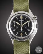 A GENTLEMAN'S STAINLESS STEEL BRITISH MILITARY LEMANIA SINGLE BUTTON RAF PILOTS CHRONOGRAPH WRIST