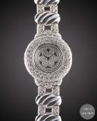 A LADIES 18K SOLID WHITE GOLD & DIAMOND THE ROYAL DIAMOND BRACELET WATCH CIRCA 1990s WITH ORIGINAL