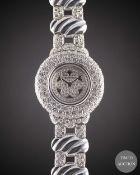A LADIES 18K SOLID WHITE GOLD & DIAMOND THE ROYAL DIAMOND BRACELET WATCH CIRCA 1990s WITH ORIGINAL