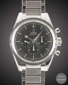 A GENTLEMAN'S STAINLESS STEEL OMEGA SPEEDMASTER '57 TRIBUTE CHRONOGRAPH BRACELET WATCH DATED 2017,