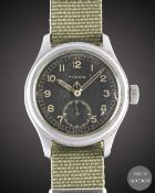 A GENTLEMAN'S STAINLESS STEEL BRITISH MILITARY TIMOR W.W.W. WRIST WATCH CIRCA 1940s, PART OF THE ""