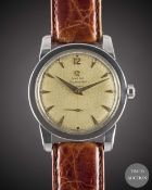 """A GENTLEMAN'S STAINLESS STEEL OMEGA SEAMASTER AUTOMATIC WRIST WATCH CIRCA 1953, REF. 2576-6 WITH """""""