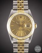 A GENTLEMAN'S STEEL & GOLD ROLEX OYSTER PERPETUAL DATEJUST BRACELET WATCH CIRCA 1987, REF. 16233