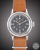 A GENTLEMAN'S STAINLESS STEEL BRITISH MILITARY IWC MARK 11 RAF PILOTS WRIST WATCH DATED 1950