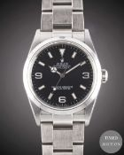 A GENTLEMAN'S STAINLESS STEEL ROLEX OYSTER PERPETUAL EXPLORER BRACELET WATCH DATED 2004, REF. 114270