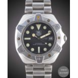 A GENTLEMAN'S STAINLESS STEEL TAG HEUER SUPER PROFESSIONAL 1000 METERSAUTOMATICDIVERS BRACELET