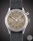 A GENTLEMAN'S STAINLESS STEEL BRITISH MILITARY LEMANIA SINGLE BUTTON ROYAL NAVY CHRONOGRAPH WRIST