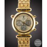 A GENTLEMAN'S SIZE 18K SOLID YELLOW GOLD GERALD GENTA CHRONOGRAPH BRACELET WATCH CIRCA 1990, REF.