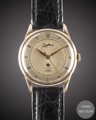 A GENTLEMAN'S PINK GOLD PLATED LONGINES WRIST WATCH CIRCA 1955, REF. 6393-5 TWO TONE SILVER DIAL