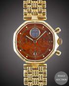 A GENTLEMAN'S 18K SOLID YELLOW GOLD GERALD GENTA CHRONOGRAPH BRACELET WATCH CIRCA 1990, REF.G