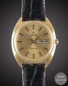 A GENTLEMAN'S 18K SOLID GOLD OMEGA GENEVE AUTOMATIC WRIST WATCH CIRCA 1979 Movement: Automatic, cal.