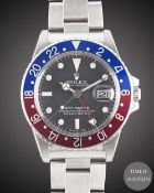 A GENTLEMAN'S STAINLESS STEEL ROLEX OYSTER PERPETUAL GMT MASTER BRACELET WATCH CIRCA 1978, REF. 1675