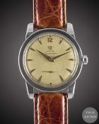 A GENTLEMAN'S STAINLESS STEEL OMEGA SEAMASTER AUTOMATIC WRIST WATCH CIRCA 1953, REF. 2576-6 WITH ""