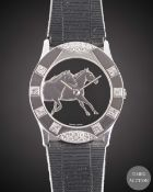 A GENTLEMAN'S SIZE 18K SOLID WHITE GOLD & DIAMOND CORUM FOR ASPREY WRIST WATCH CIRCA 1990s, WITH A