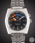 A GENTLEMAN'S STAINLESS STEEL AQUASTAR REGATE AUTOMATIC YACHTING BRACELET WATCH CIRCA 1970s, WITH