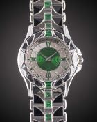 A GENTLEMAN'S SIZE 18K SOLID WHITE GOLD, EMERALD & ONYX MAUBOUSSIN AUTOMATIC BRACELET WATCH CIRCA