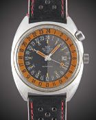 "A GENTLEMAN'S STAINLESS STEEL GLYCINE AIRMAN SST ""PUMPKIN"" 24 HOUR AUTOMATIC WRIST WATCH CIRCA"