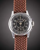 "A GENTLEMAN'S HEUER ""UP & DOWN"" PILOTS CHRONOGRAPH WRIST WATCH CIRCA 1940, WITH GLOSS BLACK GILT"