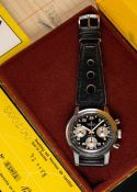 A RARE GENTLEMAN'S STAINLESS STEEL BREITLING TOP TIME 24 HOUR CHRONOGRAPH WRIST WATCH DATED 1973,