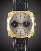 A GENTLEMAN'S GOLD PLATED BREITLING TOP TIME CHRONOGRAPH WRIST WATCH CIRCA 1966, REF. 2009 WITH ""